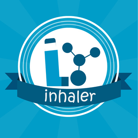 inhaler: inhaler illustration over color background