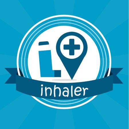 inhalacion: ilustraci�n inhalador sobre fondo de color