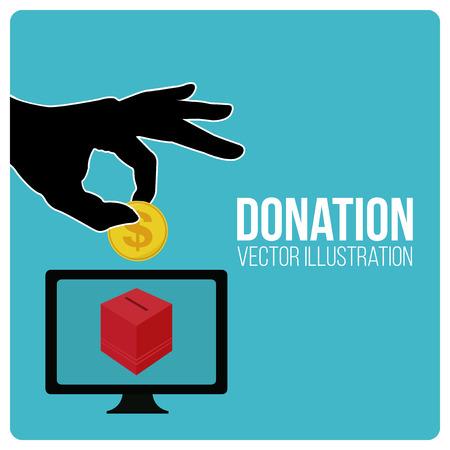 cash box: Donation illustraion over blue color background
