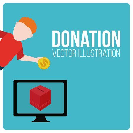 illustraion: Donation illustraion over blue color background
