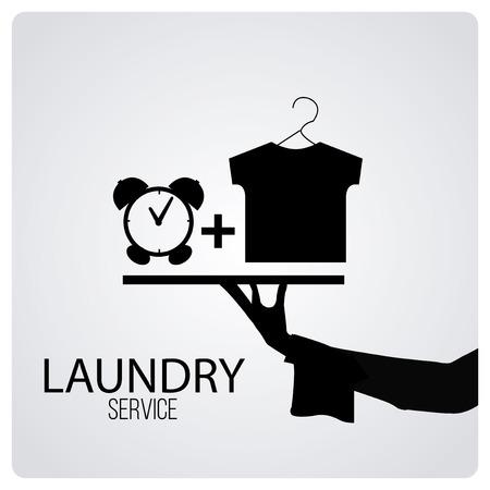 servicio domestico: servicio de lavandería sobre fondo de color degrade
