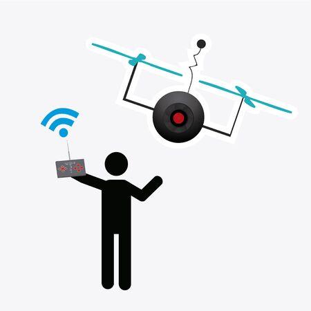 unmanned: drone illustrator over white color background Illustration