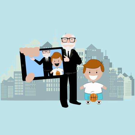 oldman: selfie children illustration over color background