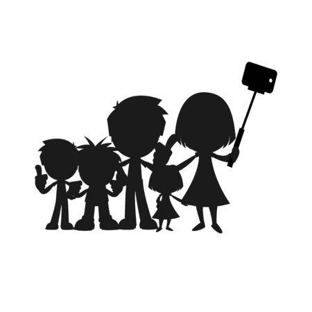 mom and son: selfie children illustration over color background