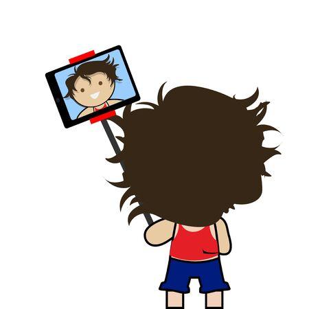 backwards: selfie children illustration over color background