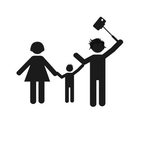 smart woman: selfie children illustration over color background