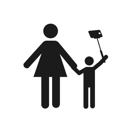 selfie children illustration over color background