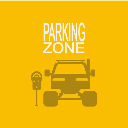 urban area: parking zone illustration  over yellow color background