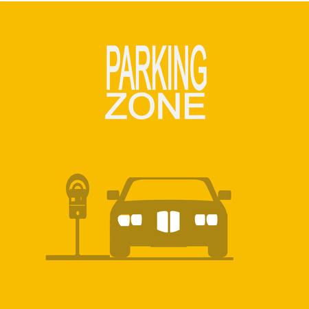 parking zone illustration  over yellow color background