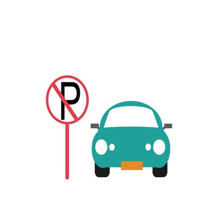 parking is prohibited: parking prohibited illustration over white color background Illustration