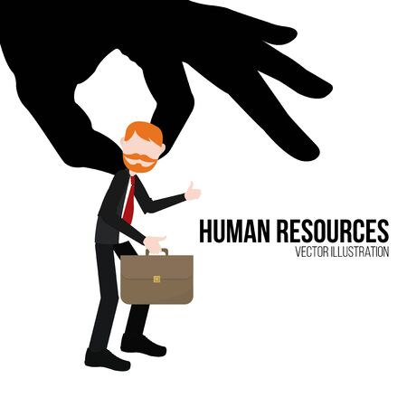 hanging woman: human resources illustration over white color background