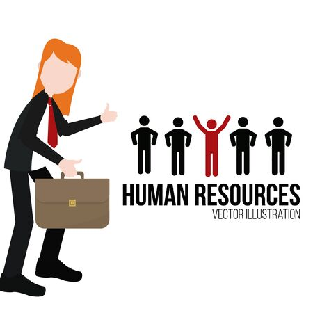silhouttes: human resources illustration over white color background