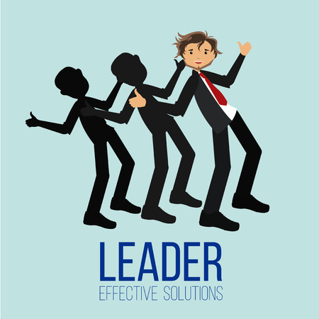 happy employees: Leader illustration over blue color background Illustration