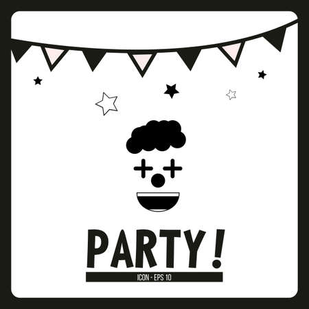 black wigs: party illustration over white color background