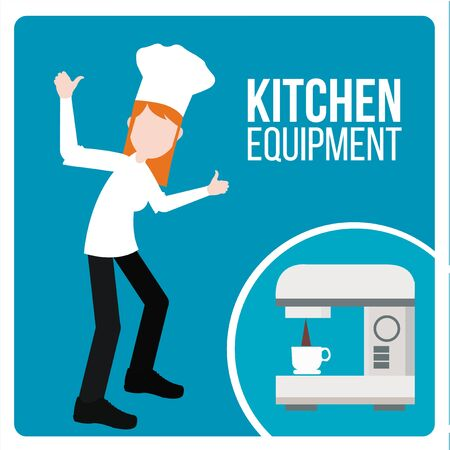 cappucino: kitchen equipment illustration over blue color background
