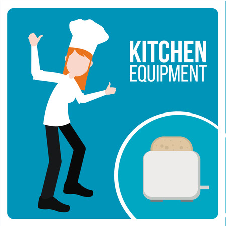 profesional: kitchen equipment illustration over blue color background