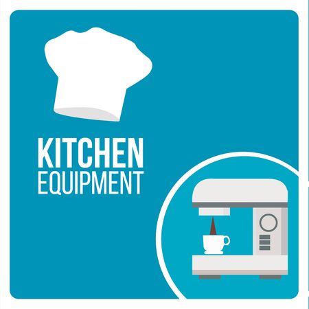 espreso: kitchen equipment illustration over blue color background