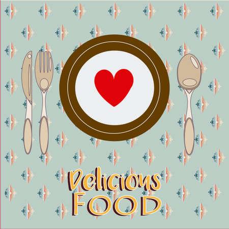 knive: Delicious Food Illustration Over Color Background Illustration