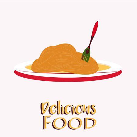 Delicious Food Illustration Over Color Background Illustration