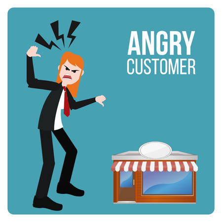 angry cartoon: Angry Customer illustration over blue color background