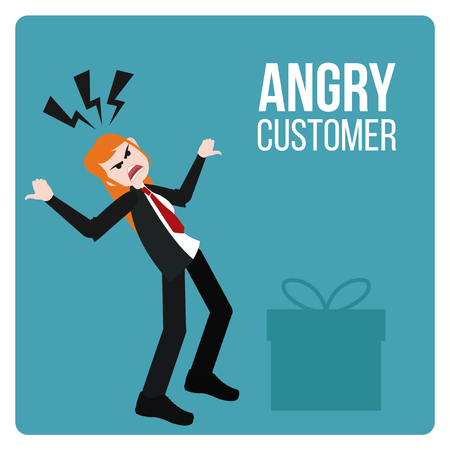 unsatisfied: Angry Customer illustration over blue color background