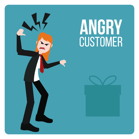 bad service: Angry Customer illustration over blue color background