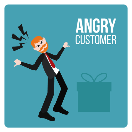 clients: Angry Customer illustration over blue color background