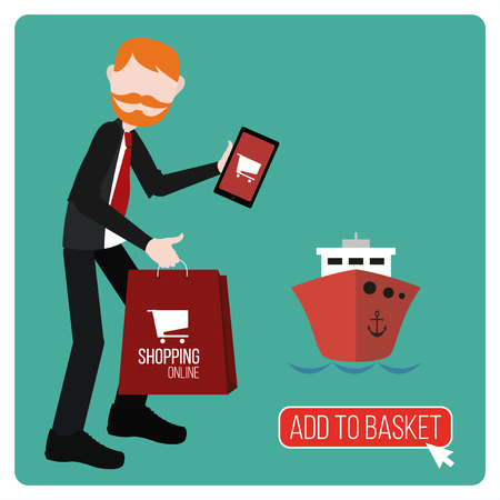 businnes: Add to the basket illustration over green color background