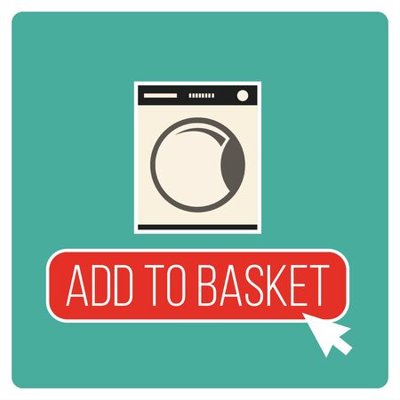 Add to the basket illustration over green color background