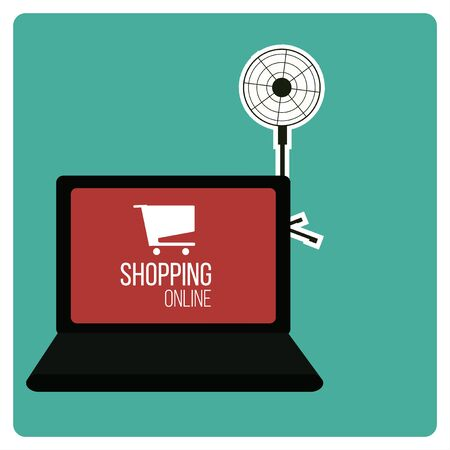 shoppin online illustration over green color background
