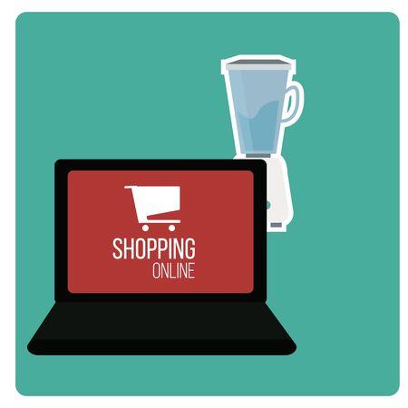 businnes: shoppin online illustration over green color background