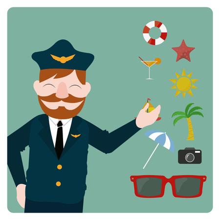 cabin attendant: flight attendant illustration over color bakcground Illustration