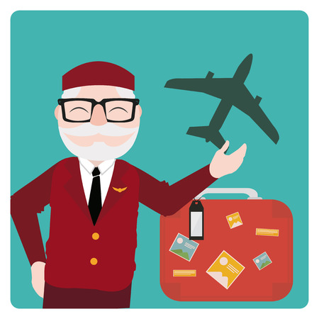 oldman: flight attendant illustration over color bakcground Illustration