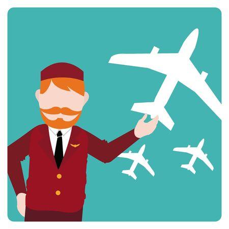 flight attendant: flight attendant illustration over color bakcground Illustration