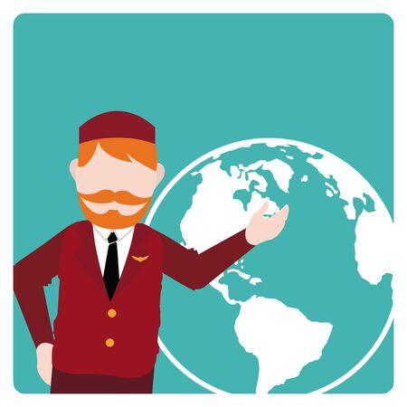 flight crew: flight attendant illustration over color bakcground Illustration