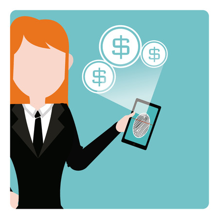 telephone saleswoman: QR Code or barcode illustration over color background