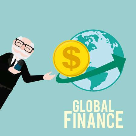 oldman: Global Finance Illustration over color background Illustration