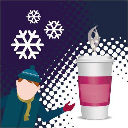black coffee: Hot Drink Winter over texture color background