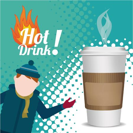 hot drink: Hot Drink Winter over texture color background
