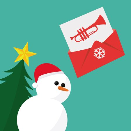 mail: Christmas Mail, over green color background Illustration