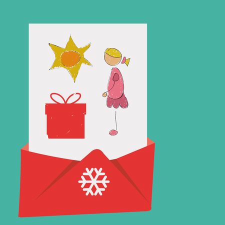 christmas mail: Christmas Mail, over green color background Illustration