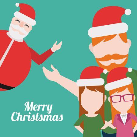 Feliz ilustración Navidad de la familia sobre fondo de color verde Foto de archivo - 48425499