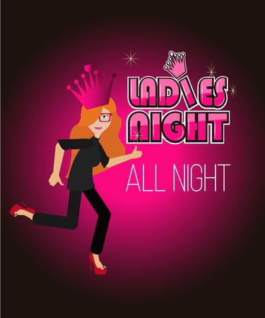 degrade: ladies night illustration over degrade color background