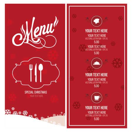 christmas menu: Christmas menu illustration over red and white color background Illustration