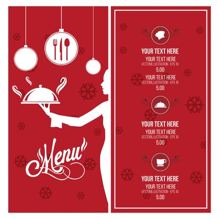 Christmas menu illustration over red and white color background Illustration