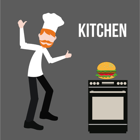 kitchen illustration: Kitchen and chef illustration over gray color background