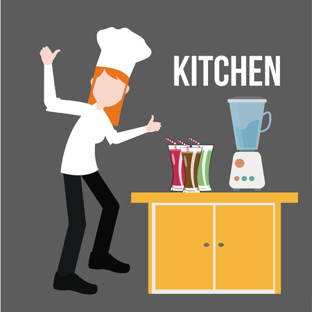 proffessional: Kitchen and chef illustration over gray color background