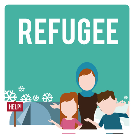 refugee: refugee illustration over  winter landscape Illustration