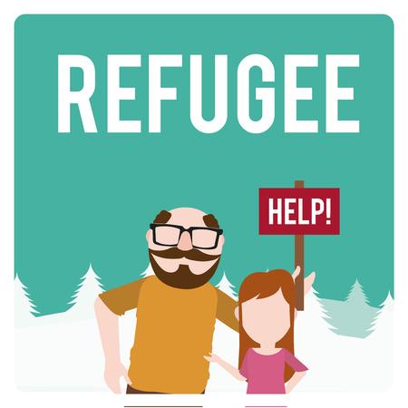 bombing: refugee illustration over  winter landscape Illustration