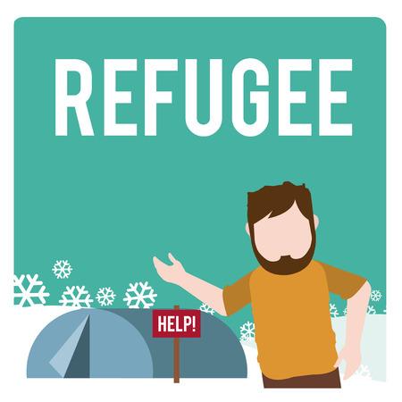 exile: refugee illustration over  winter landscape Illustration